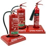 Fire extinguisher plinths
