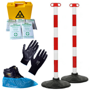 Shop out coronavirus safety equipment, including PPE, temporary barriers and helpful social distancing and hygiene measures.